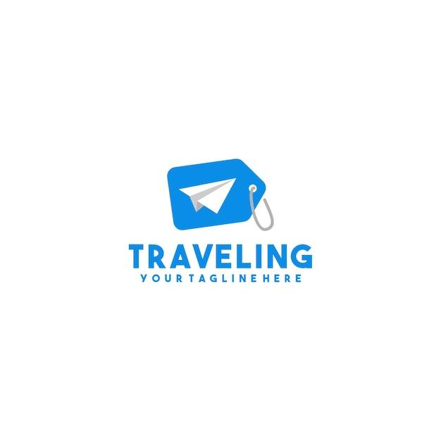 Logo di tag di viaggio creativo Vettore Premium