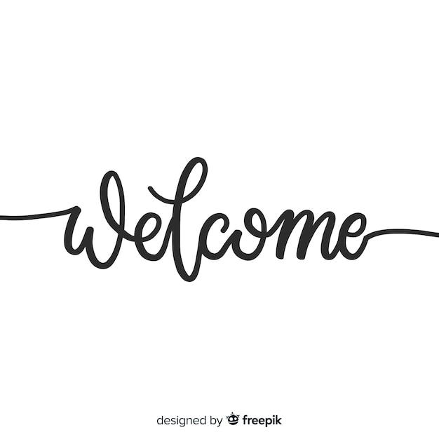 Concetto di lettering di benvenuto creativo Vettore Premium