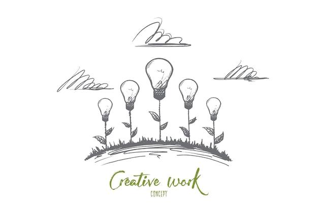 Concetto di lavoro creativo. illustrazioni creative disegnate a mano di fiori. la nascita di un'idea. lampada a incandescenza il simbolo dell'illustrazione isolata idea creativa. Vettore Premium