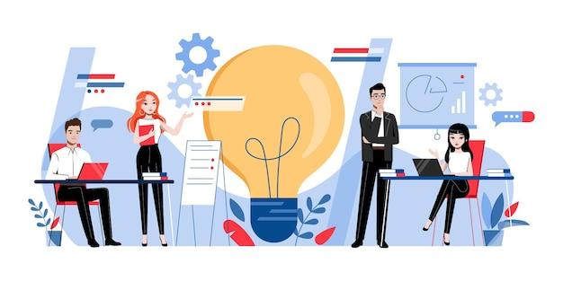 Creatività e concetto di brainstorming. personaggi dei cartoni animati creativi maschili e femminili stanno lavorando e sviluppando un nuovo progetto insieme in ufficio Vettore Premium