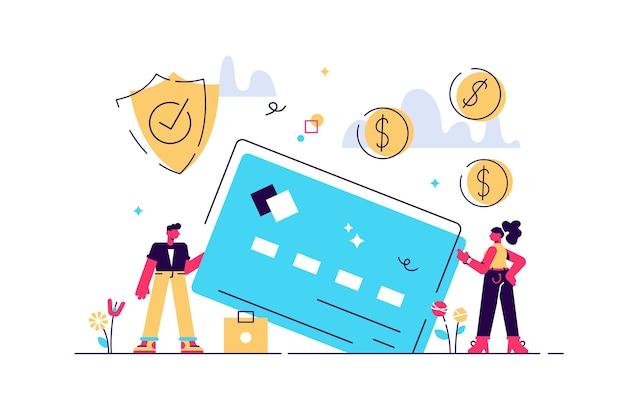 Sicurezza della carta di credito, tutela del risparmio finanziario. retribuzione mensile, stipendio, budget. Vettore Premium