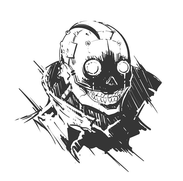 Raccapricciante ritratto cyberpunk di un uomo malvagio con impianti Vettore Premium