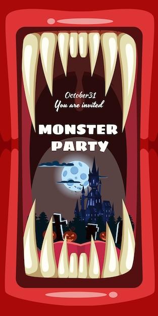 Creepy monster halloween invito a una festa con denti da vampiro o mostro Vettore Premium