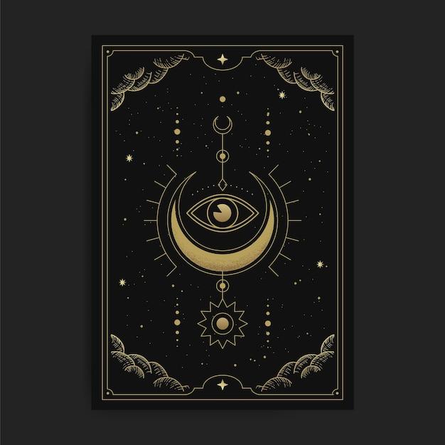 Una falce di luna con l'occhio interiore o un occhio, illustrazione di carte con temi esoterici, boho, spirituali, geometrici, astrologici, magici, per carta di lettore di tarocchi Vettore Premium