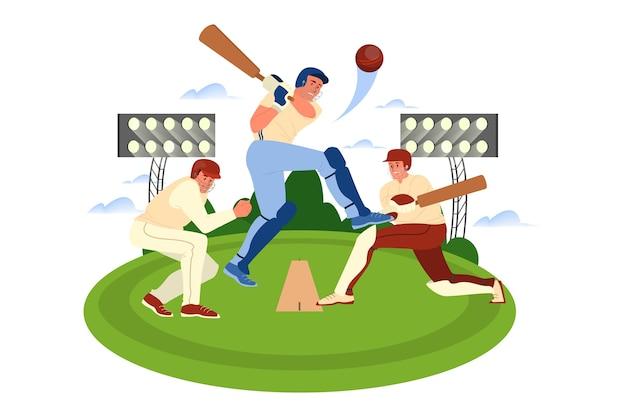 Giocatore di cricket che tiene una mazza in campo. formazione del giocatore di cricket. atleta allo stadio. torneo di campionato, concetto di sport di squadra. illustrazione Vettore Premium