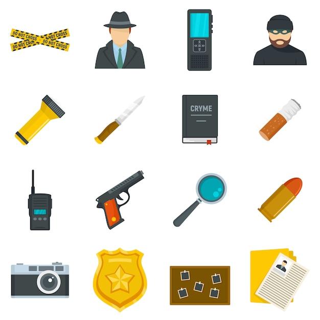 Set di icone di indagine sul crimine Vettore Premium