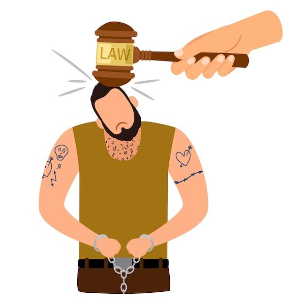 Concetto di punizione penale Vettore Premium