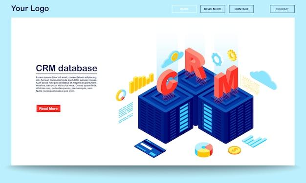Modello di vettore di pagina di destinazione isometrica database e server crm Vettore Premium