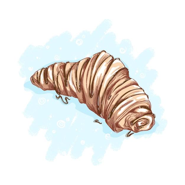 Croissant condito con topping al cioccolato o al caramello. dessert e dolci. disegno a mano abbozzato Vettore Premium