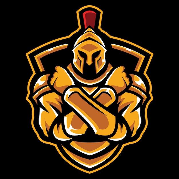 Cross arm knight esport logo illustrazione Vettore Premium