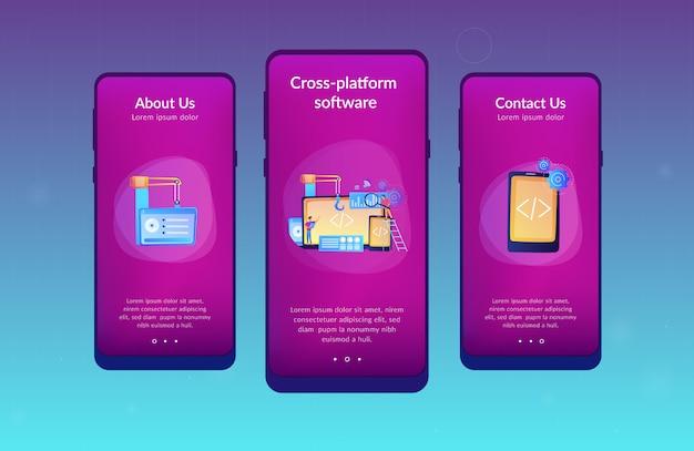 Modello di interfaccia dell'app di sviluppo multipiattaforma. Vettore Premium