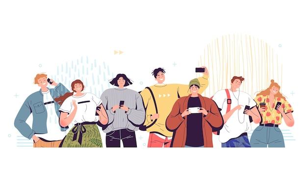 Una folla di persone con i telefoni. Vettore Premium