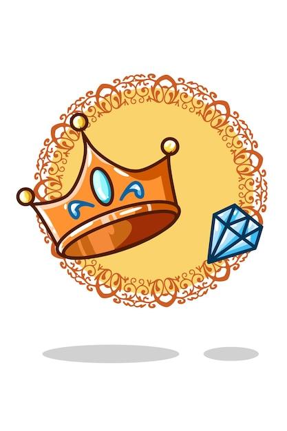 Illustrazione vettoriale di corona e gioiello Vettore Premium
