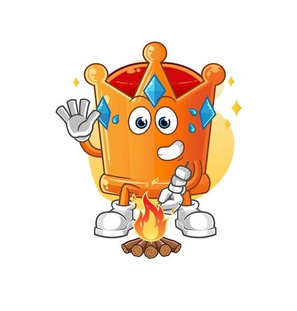 I marshmallow arrostiti con la corona. mascotte dei cartoni animati Vettore Premium