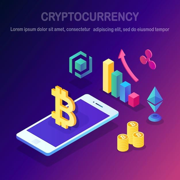 Criptovaluta e blockchain. bitcoin minerario. pagamento digitale con denaro virtuale Vettore Premium