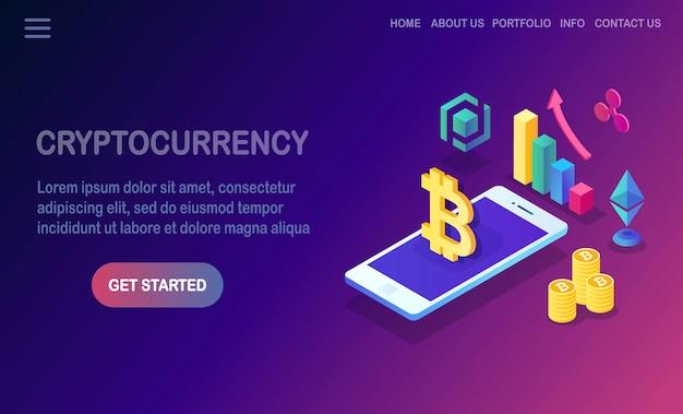 Criptovaluta e blockchain. bitcoin minerario. Vettore Premium