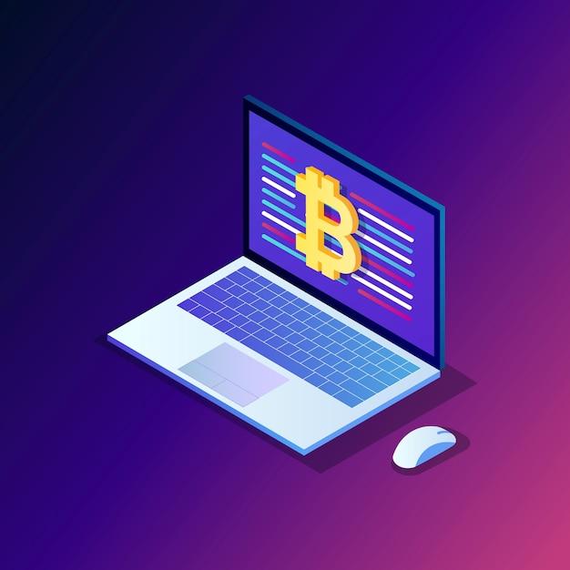 Criptovaluta e blockchain. Vettore Premium