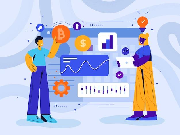 Cryptocurrency trading desk concetto astratto illustrazione Vettore Premium