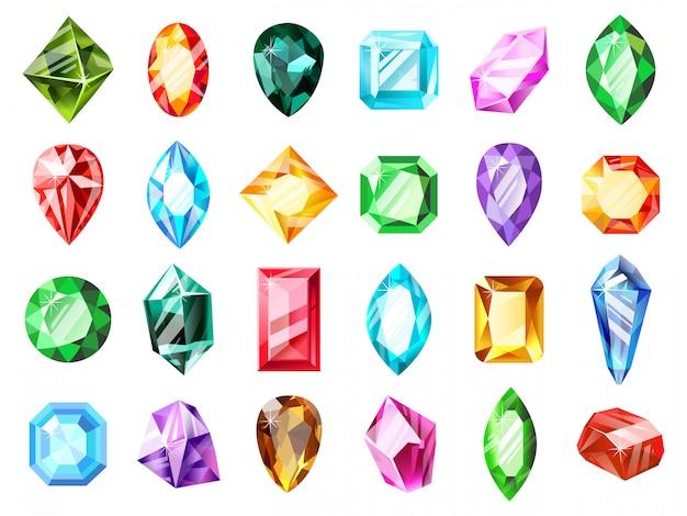 Gemme gioiello di cristallo. gemma di cristallo del diamante, pietra preziosa del gioco dei gioielli, insieme dell'illustrazione di simboli delle gemme brillanti di lusso preziose. gioielli in pietre dure, zaffiri e tesori, accessori minerali Vettore Premium