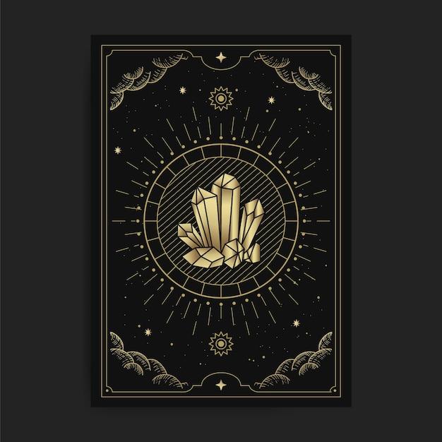 Roccia di cristallo, pietra o gemme, nelle carte dei tarocchi, decorata con nuvole dorate, luna, spazio e tante stelle Vettore Premium