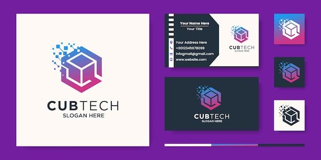 Cube tech logo, pixel esagonale con abstract della lettera s Vettore Premium