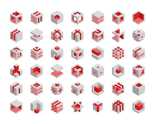 Set di cubi 3d Vettore Premium