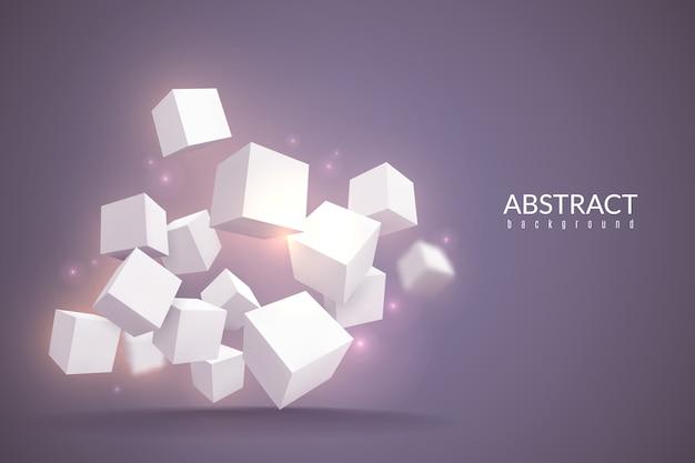 Sfondo di cubi. poster digitale con cubi geometrici. blocchi bianchi in prospettiva, concetto rotante del prodotto azionario della struttura della tecnologia di connessione internet Vettore Premium