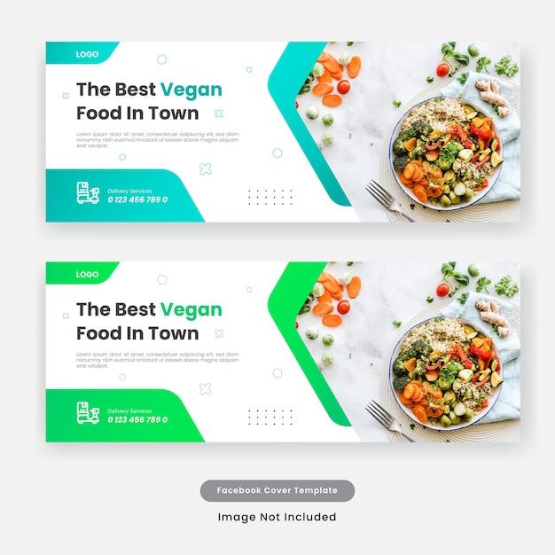 Banner di modello di copertina di social media di cibo culinario. Vettore Premium