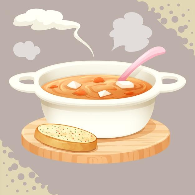 Una tazza di zuppa e vettore di pane all'aglio Vettore Premium