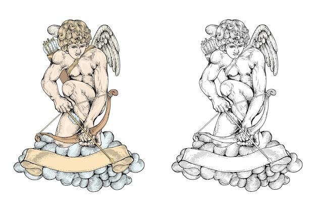 Cupido prepara arco e frecce Vettore Premium
