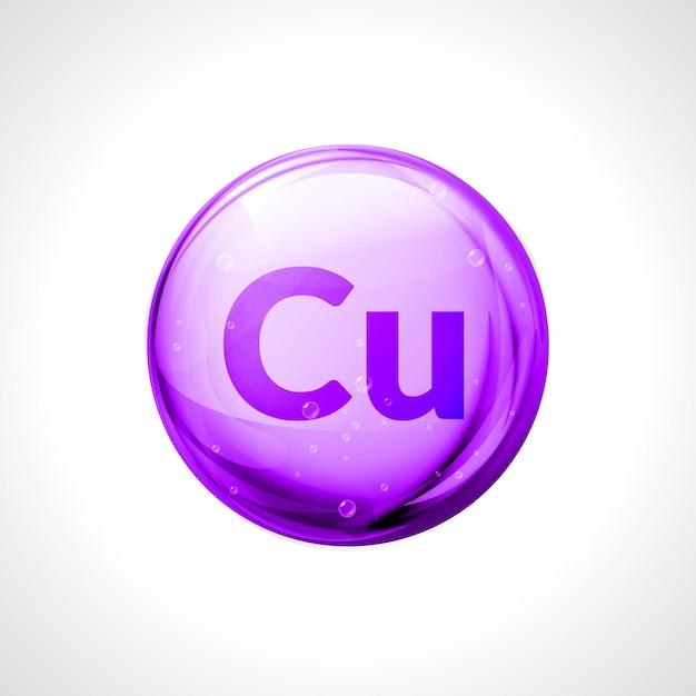 Cuprum rame minerale isolato. simbolo chimico di salute della pillola della gocciolina. Vettore Premium