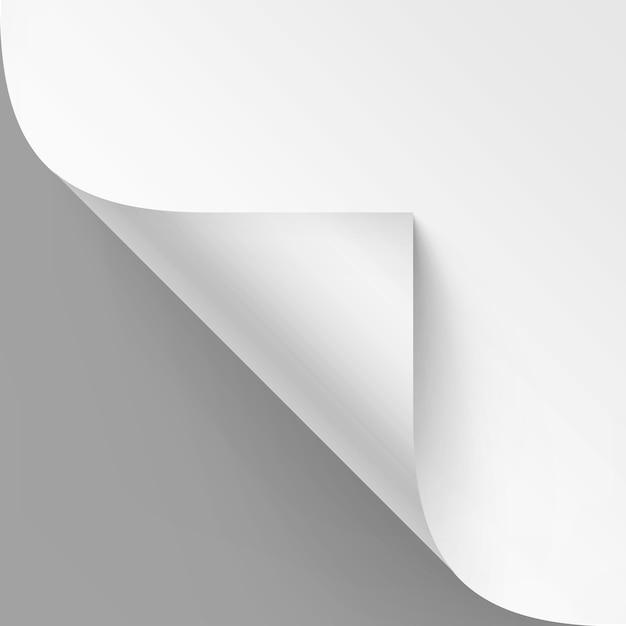 Angolo arricciato di carta bianca con ombra Vettore Premium