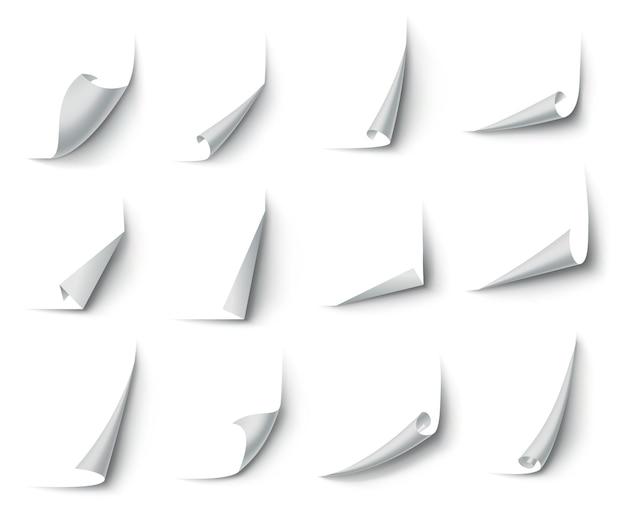 Angoli di carta arricciati. angolo della pagina curva, arricciatura del bordo delle pagine e foglio di carta piegato con ombre realistiche. Vettore Premium