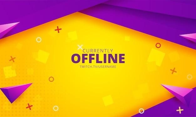 Modello di sfondo twitch attualmente offline Vettore Premium
