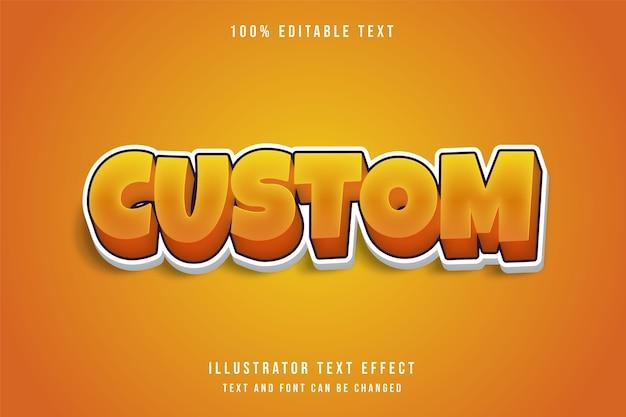 Effetto di testo modificabile 3d personalizzato, gradazione gialla effetto stile gioco arancione Vettore Premium