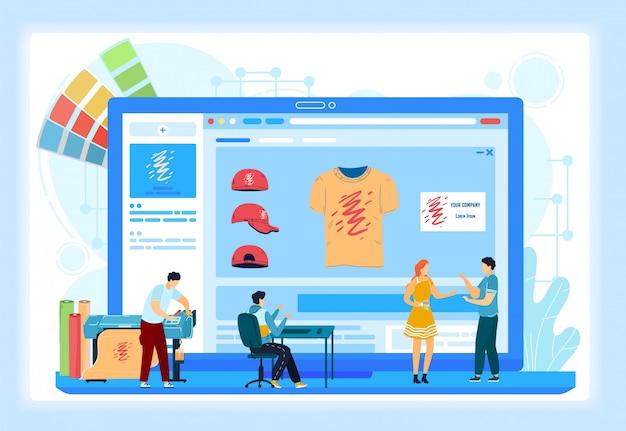 Illustrazione su ordinazione degli schermi di onboarding di servizi online di stampa della maglietta. ordine di stampa tipografica online tipografia. Vettore Premium