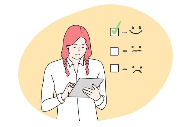 Valutazione del cliente, affari, concetto di feedback. Vettore Premium