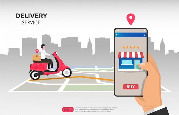 Cliente che ordina da smartphone e consegnato tramite corriere con il suo scooter. Vettore Premium