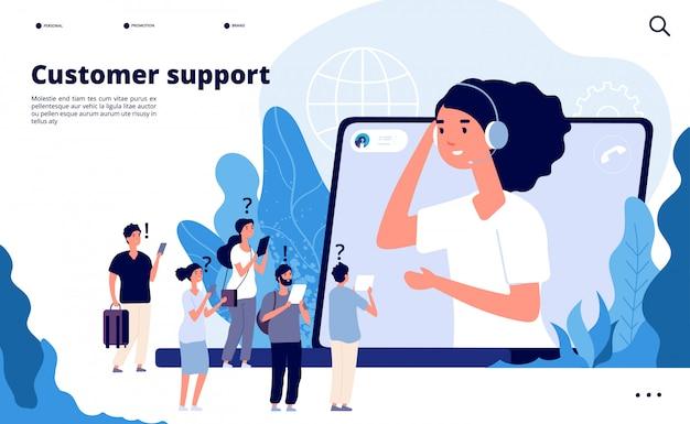 Concetto di assistenza clienti. i professionisti aiutano il cliente con lo smartphone. pagina di destinazione delle comunicazioni di telemarketing Vettore Premium