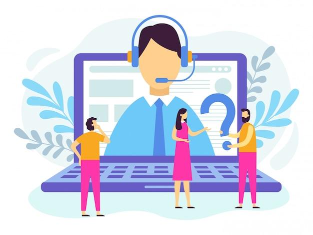 Servizio di assistenza clienti. operatore di call center Vettore Premium
