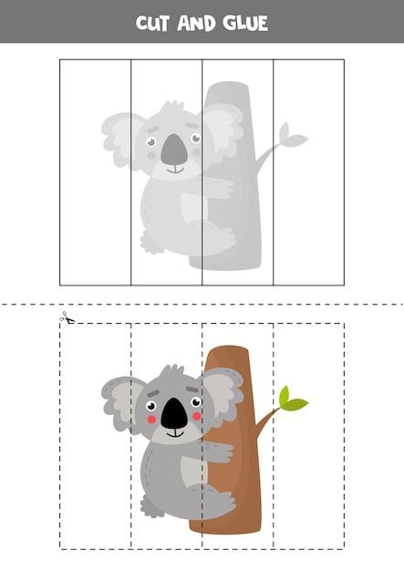 Taglia e incolla l'immagine del simpatico koala australiano sull'albero. puzzle educativo per bambini. Vettore Premium