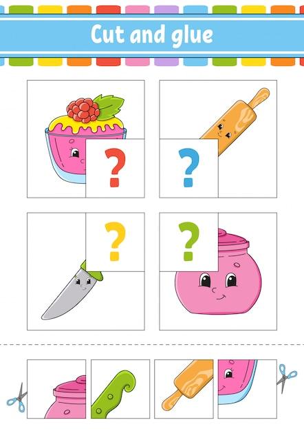 Taglia e incolla. imposta le schede flash. puzzle di colore. foglio di lavoro per lo sviluppo dell'istruzione. Vettore Premium