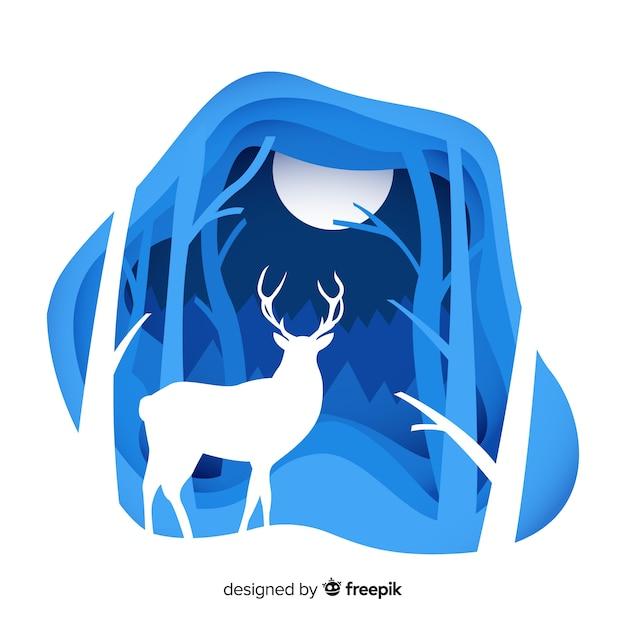 Ritagliare lo sfondo invernale cervo Vettore Premium