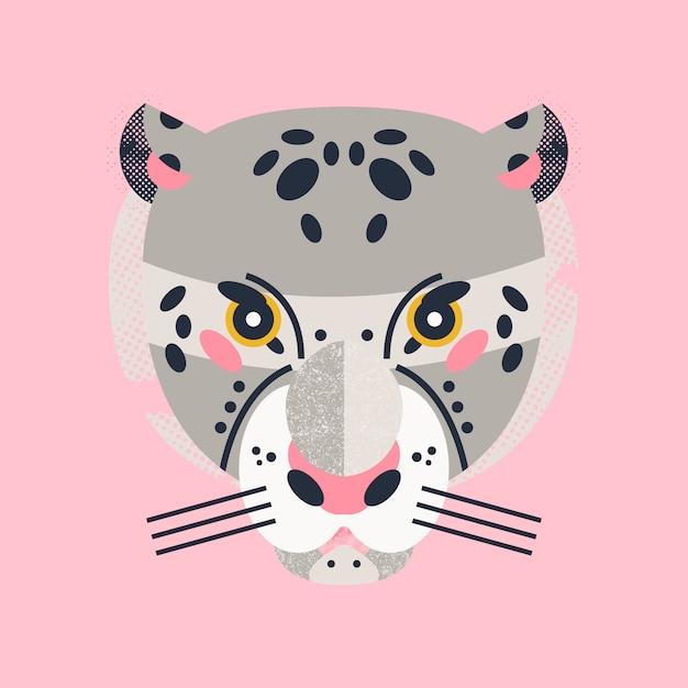 Carta di leopardo adorabile carino Vettore Premium