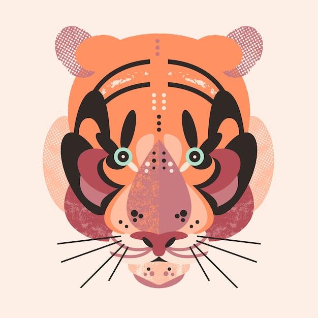 Carta di tigre adorabile carina Vettore Premium