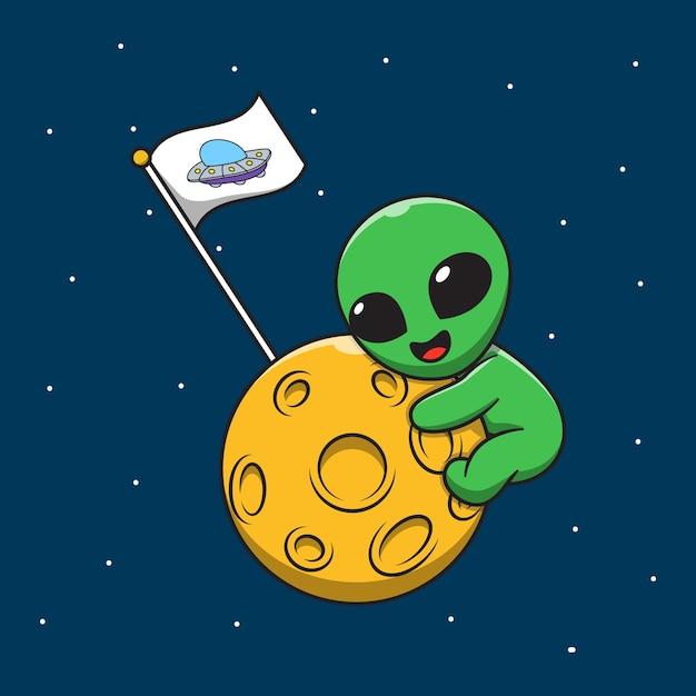 Alieno carino che abbraccia l'illustrazione del fumetto della luna Vettore Premium