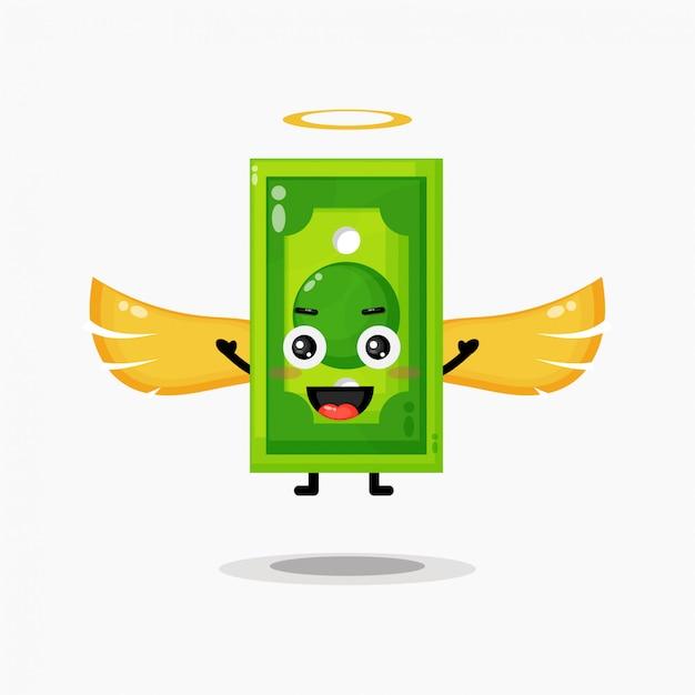 Illustrazione sveglia di progettazione dei soldi di angelo Vettore Premium