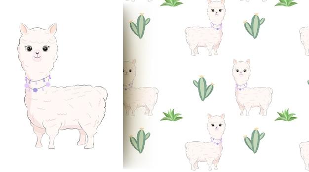 Illustrazione senza cuciture del modello di lama e cactus animale sveglio del bambino Vettore Premium