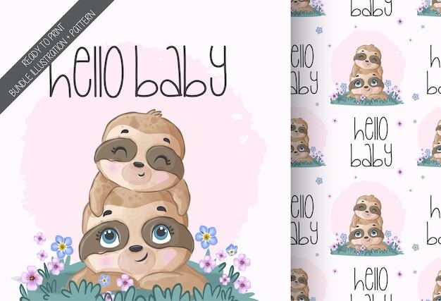 Modello senza cuciture di bradipo adorabile sveglio del bambino animale Vettore Premium