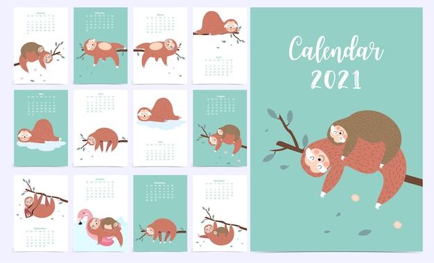 Calendario animale carino 2021 con bradipo. Vettore Premium
